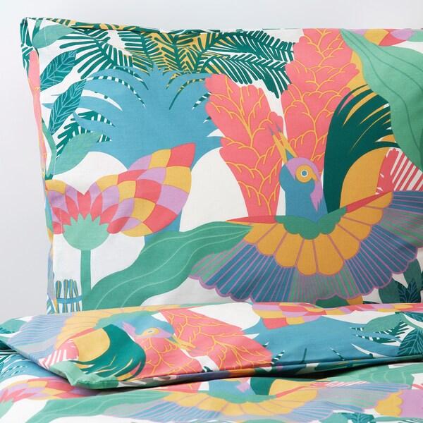"SKOGSFIBBLA duvet cover and pillowcase(s) white/multicolor 152 /inch² 1 pack 86 "" 64 "" 20 "" 30 """