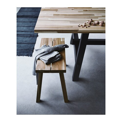 SKOGSTA Bench IKEA Solid wood is a durable natural material which can be sanded and surface treated when required.