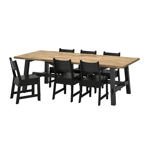SKOGSTA / NORRÅKER Table and 6 chairs, acacia, black