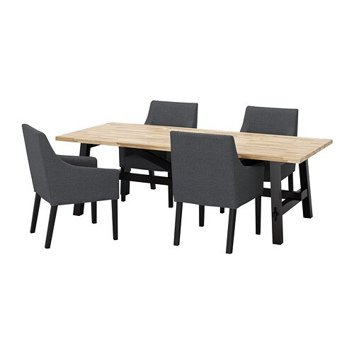 SKOGSTA / SAKARIAS Table and 4 chairs, acacia black, Sporda dark gray