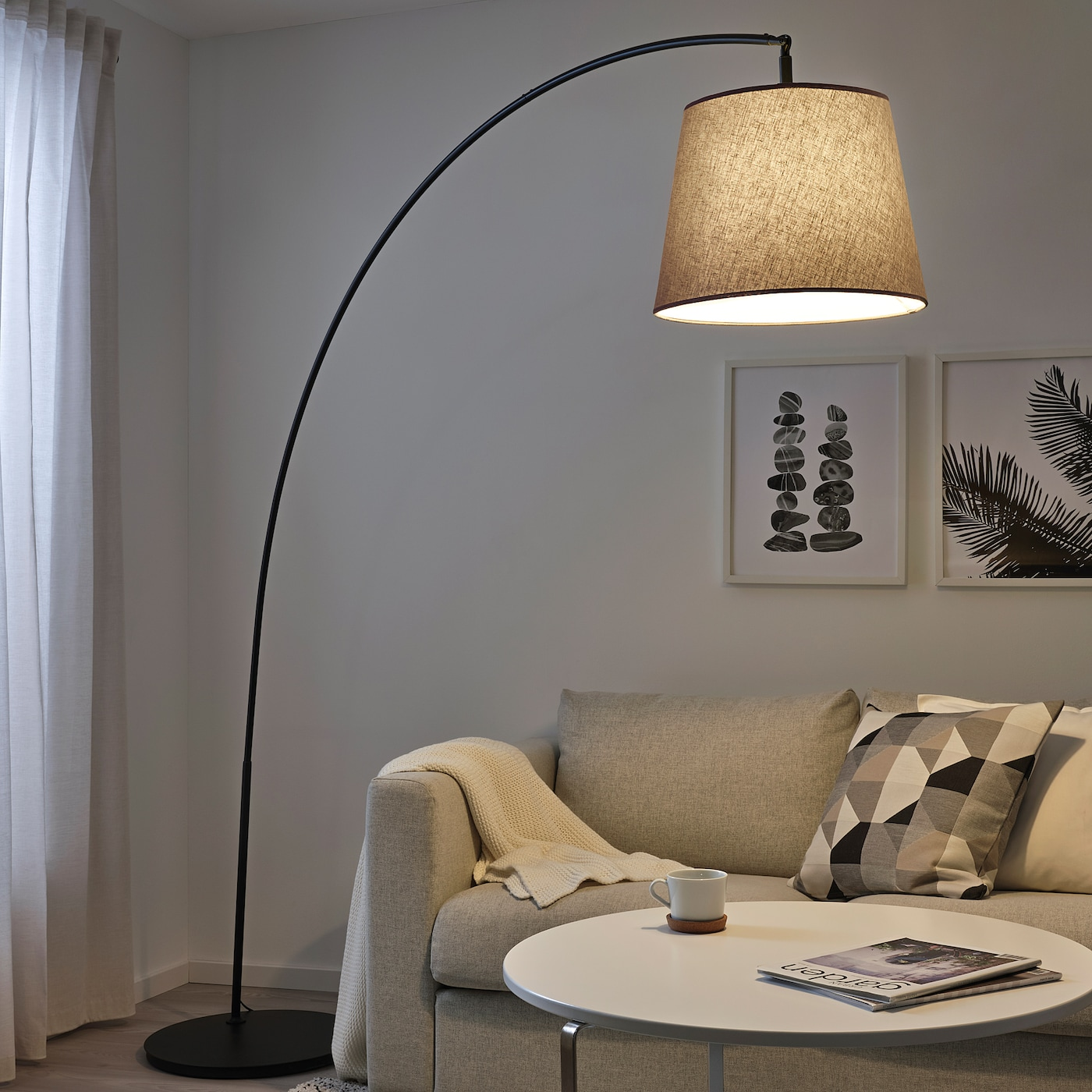 Picture of: Skottorp Skaftet Floor Lamp Base W Light Blb Arched Light Gray Ikea