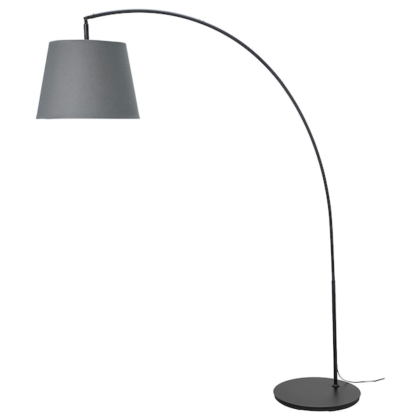 "SKOTTORP / SKAFTET floor lamp base w light blb, arched gray 84 "" 69 "" 17 "" 19 "" 79 "" 13 W"