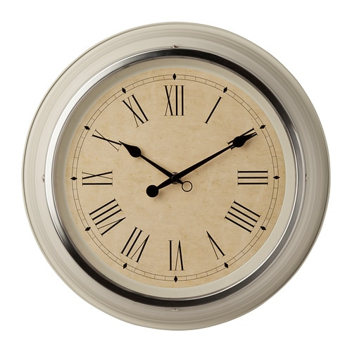 SKOVEL Wall clock, beige