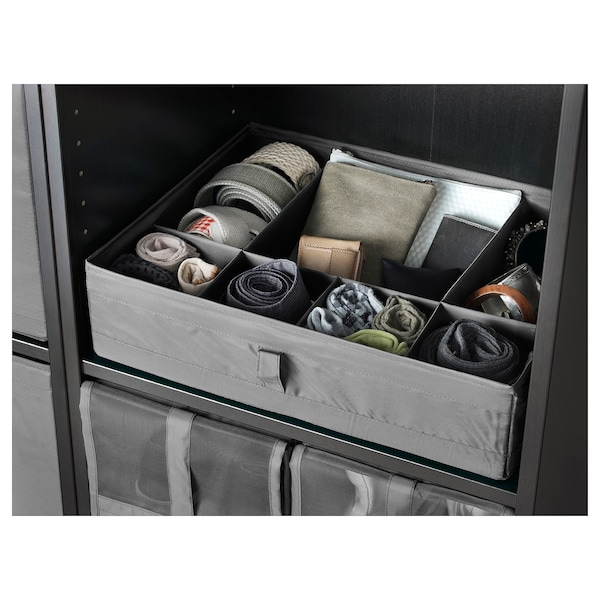 SKUBB Box with compartments, dark gray, 17 ¼x13 ½x4 ¼ ""