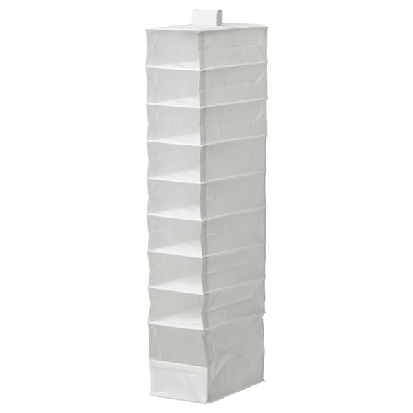 """SKUBB Organizer with 9 compartments, white, 8 ¾x13 ½x47 ¼ """""""