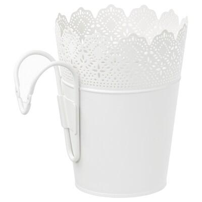 "SKURAR plant pot with holder indoor/outdoor/white 8 ¾ "" 6 ¾ "" 6 """