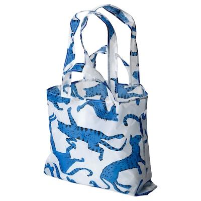 SKYNKE Shopping bag, patterned cat/blue white