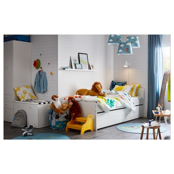 SLÄKT Bed frame w/pull-out bed + storage, white, Twin