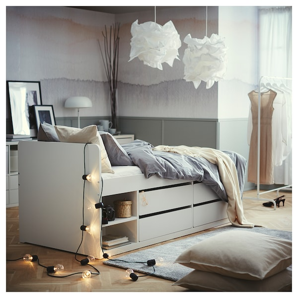 Slakt Bed Frame W Storage Slatted Bedbase White Twin Ikea,Christina El Moussa Ant Anstead Net Worth