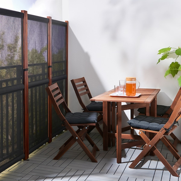 """SLÄTTÖ privacy screen, outdoor black/brown stained 83 1/8 """" 66 7/8 """""""