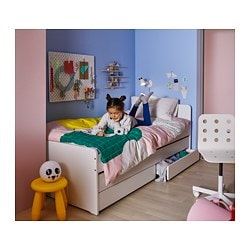Twin Bed With Storage.Slakt Bed Frame W Pull Out Bed Storage White 249 00