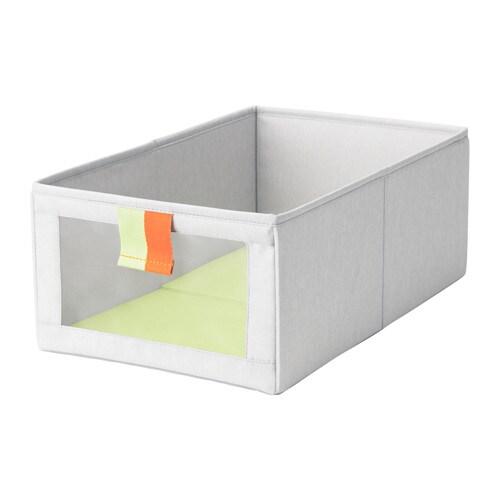 SLÄKTING Box, gray, green gray/green 10 ¾x16 ½x6 ¾