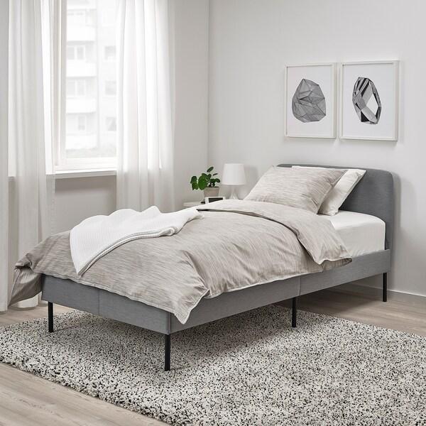 """SLATTUM upholstered bed frame Knisa light gray 77 1/8 """" 39 3/4 """" 15 3/4 """" 33 1/2 """" 74 3/8 """" 38 1/4 """""""