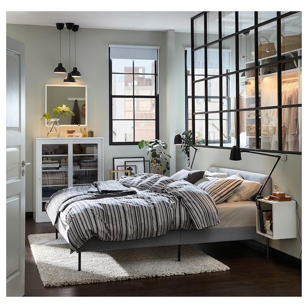 """SLATTUM upholstered bed frame Knisa light gray 81 7/8 """" 61 3/8 """" 15 3/4 """" 33 1/2 """" 79 1/2 """" 59 7/8 """""""