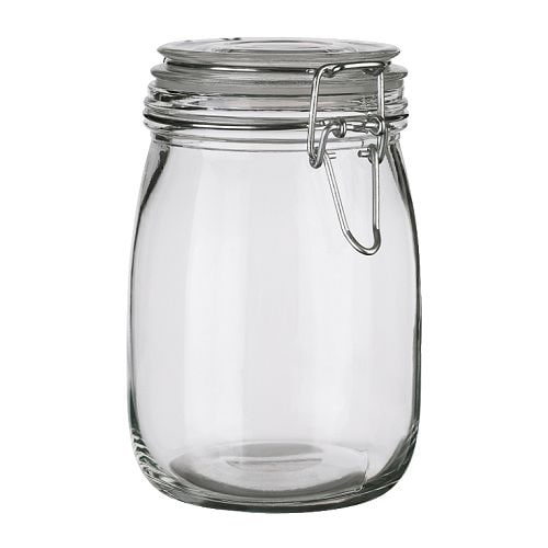 SLOM Jar with lid IKEA Transparent; makes it easy to find what you're looking for.