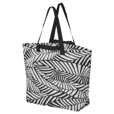 SLUKIS Shopping bag, medium, black/white, 10 gallon