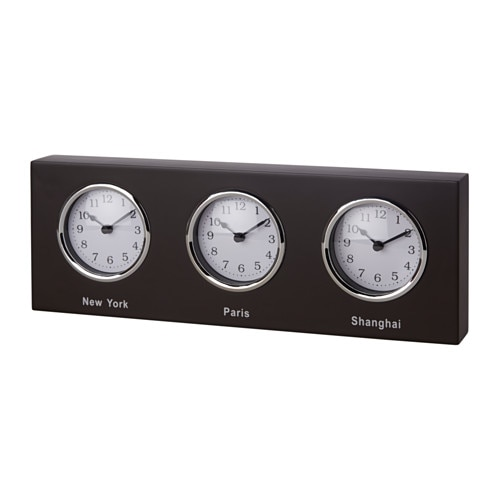 Slussa clock ikea for Horloge murale 3 cadrans