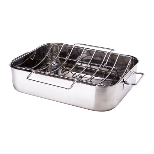 SMÅBRÖD Roasting pan with grill rack, stainless steel
