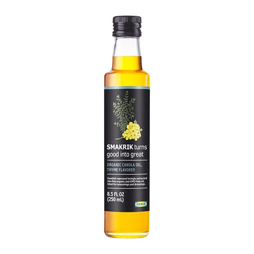 SMAKRIK Canola oil IKEA Swedish rapeseed lovingly cold-pressed into fine oil.  Thyme flavor.