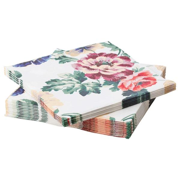 """SMAKSINNE Paper napkin, multicolor/flower, 13x13 """""""