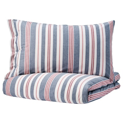 SMALSTÄKRA Duvet cover and pillowcase(s), blue/red/stripe, Twin
