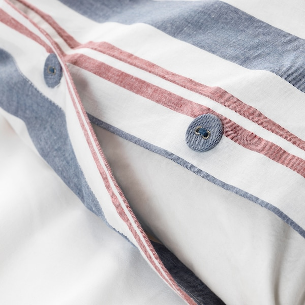 SMALSTÄKRA Duvet cover and pillowcase(s), blue/red/stripe, Full/Queen (Double/Queen)