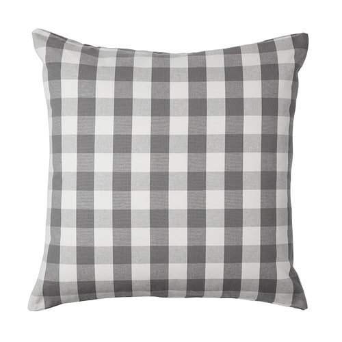 SMÅNATE Cushion cover, white, gray
