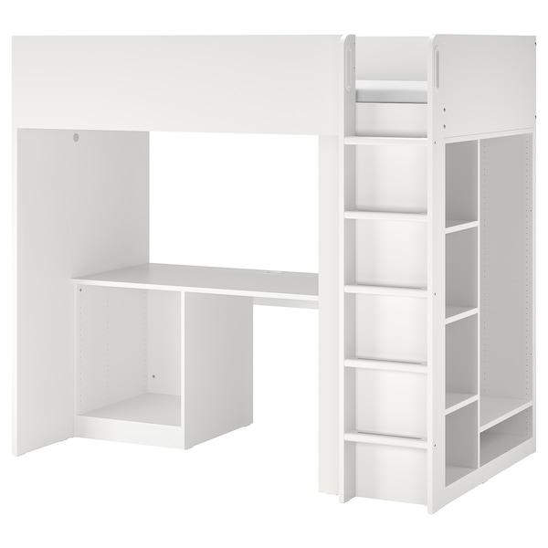 Smastad Loft Bed Frame Desk And Storage White Twin Ikea
