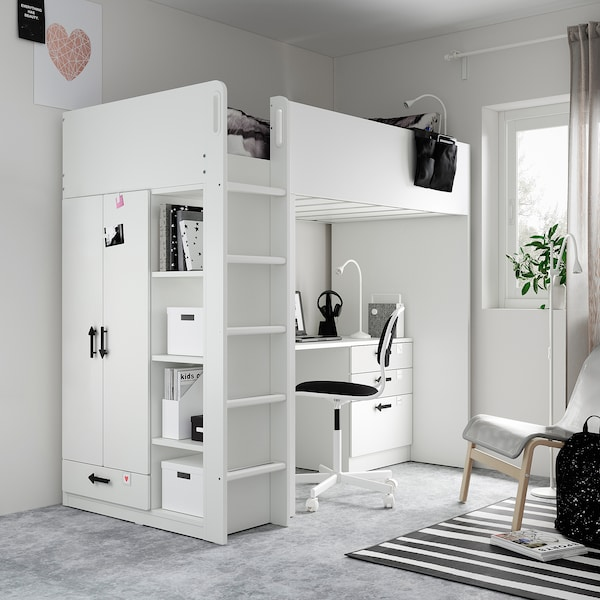 SMÅSTAD Loft bed, white white/with desk with 4 drawers, Twin