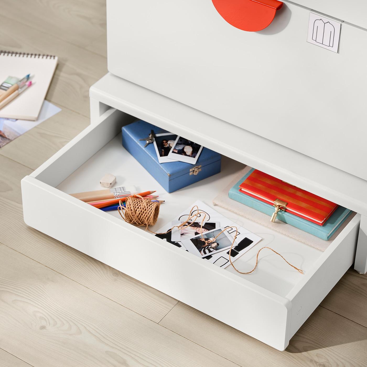 "SMÅSTAD / UPPFÖRA Bookcase, white green/with 6 drawers, 23 5/8x24 3/4x77 1/8 """
