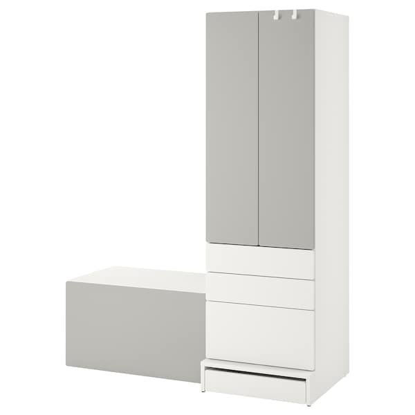 SMÅSTAD / UPPFÖRA Storage combination, white gray/with bench, 59x24 3/4x77 1/8 ""