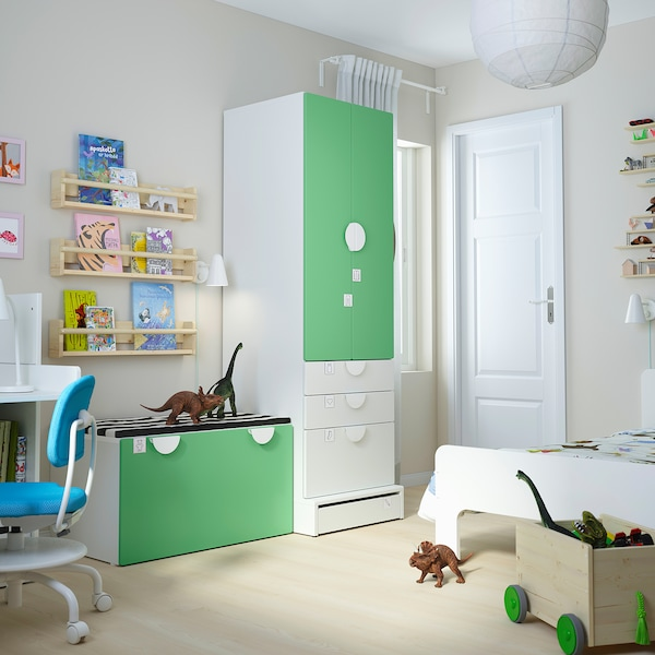 "SMÅSTAD / UPPFÖRA Storage combination, white green/with bench, 59x24 3/4x77 1/8 """