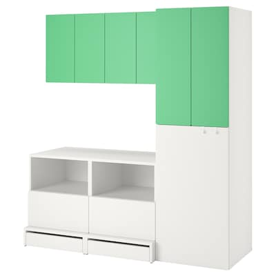 """SMÅSTAD / UPPFÖRA Storage combination, white green/with pull-out, 70 7/8x24 3/4x77 1/8 """""""