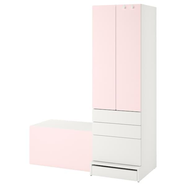 """SMÅSTAD / UPPFÖRA Storage combination, white pale pink/with bench, 59x24 3/4x77 1/8 """""""