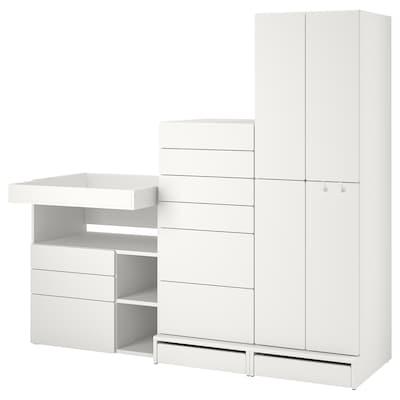 "SMÅSTAD / UPPFÖRA Storage combination, white white/with changing table, 82 5/8x31 1/2x77 1/8 """