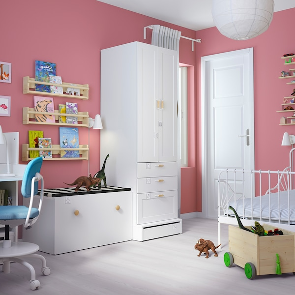 "SMÅSTAD / UPPFÖRA Storage combination, white with frame/with bench, 59x24 3/4x77 1/8 """