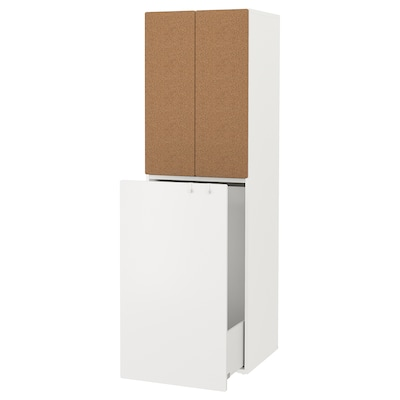 """SMÅSTAD Wardrobe with pull-out unit, white/cork with clothing rod, 23 5/8x22 1/2x77 1/8 """""""