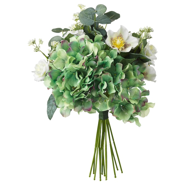 SMYCKA Artificial bouquet, white, 14 ""