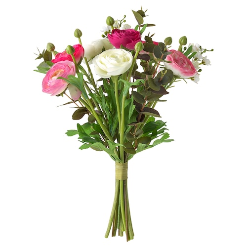 """SMYCKA artificial bouquet Ranunculus pink/white 13 """""""