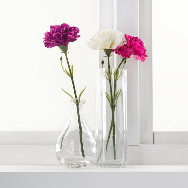 """SMYCKA Artificial flower, carnation/white, 11 ¾ """""""