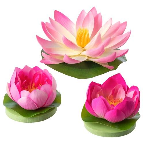 SMYCKA floating artificial flower set of 3 indoor/outdoor Water lilies