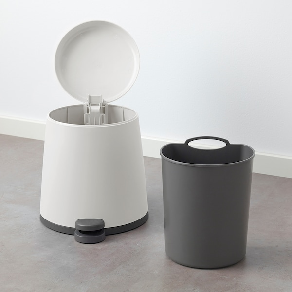 SNÄPP Pedal bin, white, 1 gallon