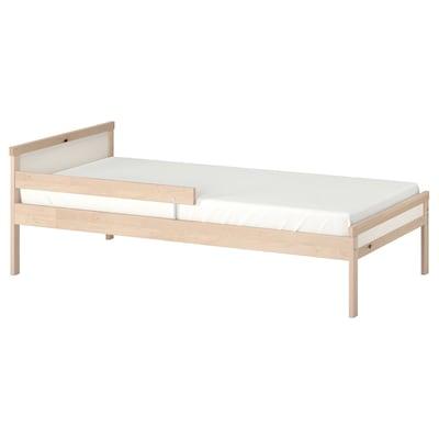 "SNIGLAR Bed frame with slatted bed base, beech, 27 1/2x63 """