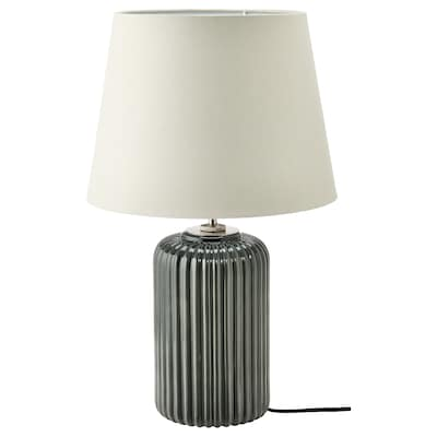 """SNÖBYAR Table lamp with LED bulb, gray-turquoise ceramic/gray, 20 """""""