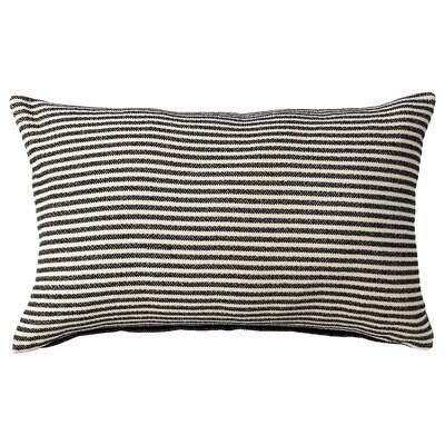 "SNÖFRID Cushion cover, black/off-white, 16x26 """