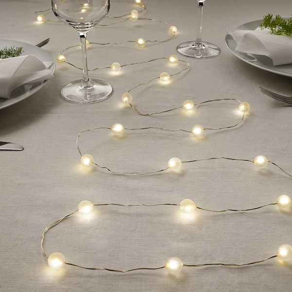 SNÖYRA LED string light with 40 lights, indoor/battery operated silver color