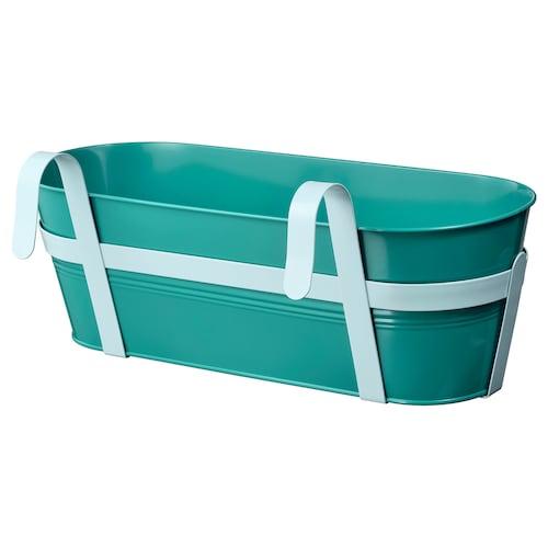 "SOCKER flower box with holder indoor/outdoor turquoise 20 "" 7 ½ "" 6 ¾ """