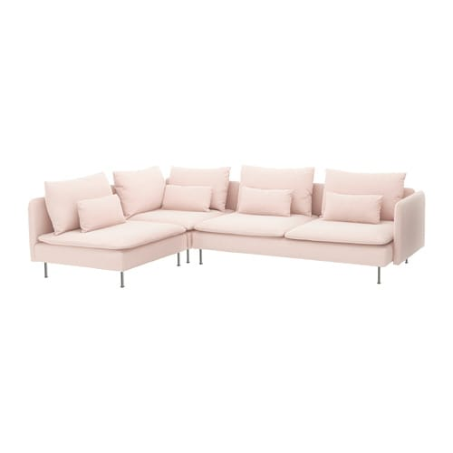 SÖDERHAMN Sectional, 4-seat corner - with open end/Samsta light pink ...