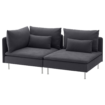 "SÖDERHAMN sofa with open end/Samsta dark gray 32 5/8 "" 27 1/8 "" 75 5/8 "" 39 "" 5 1/2 "" 2 3/8 "" 27 1/2 "" 15 3/8 """