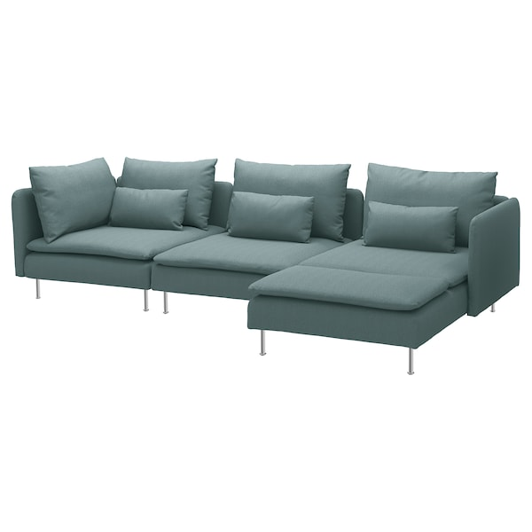 """SÖDERHAMN sectional, 4-seat with chaise/Finnsta turquoise 32 5/8 """" 27 1/8 """" 59 1/2 """" 114 5/8 """" 39 """" 48 """" 5 1/2 """" 27 1/2 """" 15 3/8 """""""